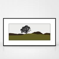 Landscape print of Grasmere in the Lake District by designer Jacky Al-Samarraie.  Shown in frame for reference.