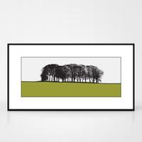 Landscape print of St. Ives in Bingley, West Yorkshire by designer Jacky Al-Samarraie.  Shown in frame for reference.