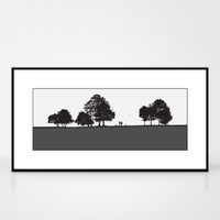 Landscape print of dog walkers in Roundhay Park in Leeds by designer Jacky Al-Samarraie.  Shown in frame for reference.