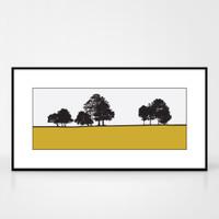 Landscape print of Roundhay Park in Leeds, West Yorkshire by designer Jacky Al-Samarraie.  Shown in frame for reference.