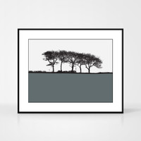 Landscape print of trees in Elgin, Moray, Scotland by designer Jacky Al-Samarraie.  Shown in frame for reference.