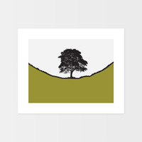 Landscape print of Sycamore Gap along Hadrian's Wall in Northumberland by designer Jacky Al-Samarraie.