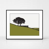 Landscape print of Top Withens in Haworth, Yorkshire by designer Jacky Al-Samarraie.  Shown in frame for reference.