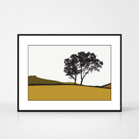 Jacky Al-Samarraie Landscape Print of Braemar, in Mustard, framed for illustration purposes only.