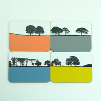 Ireland tree-scape drinks coasters by Jacky Al-Samarraie