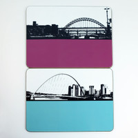 Tyne Bridge & Millennium Bridge Tablemats by Jacky Al-Samarraie
