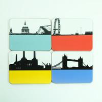 Set of 8 London melamine coasters by Jacky Al-Samarraie