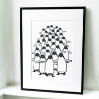 Small penguin screen-print in black frame