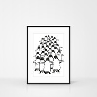 A4 Size Penguin Screen-print by Jacky Al-Samarraie