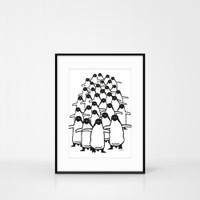 A4 Size Penguin Screen-print by Jacky Al-Samarraie