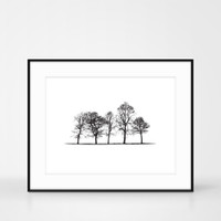 Yorkshire Landscape Tree screen print in frame size 50 x 40cm by Jacky Al-Samarraie