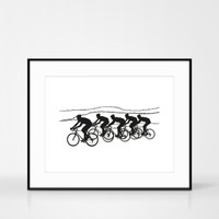 Framed cycling screen-print in black by Jacky Al-Samarraie