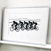 Small framed cycling screen-print by Jacky Al-Samarraie