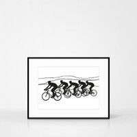 Cycling Screenprint in black by Jacky Al-Samarraie