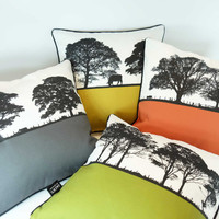 Square Landscape Cushion Collection with tree designs by Jacky Al-Samarraie.