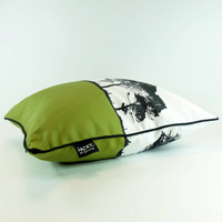 Green Cotton Landscape design cushion by Jacky Al-Samarraie