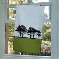 Green Landscape cotton tea towel by Jacky Al-Samarraie