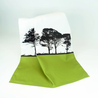 Green Cotton Tea Towel with tree design by Jacky Al-Samarraie