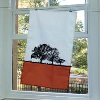 Landscape cotton tea towel by Jacky Al-Samarraie in Orange colour