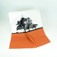 Terracotta cotton tea towel with tree design by Jacky Al-Samarraie
