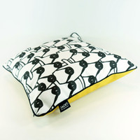 Square cotton penguin design cushion by Jacky Al-Samarraie