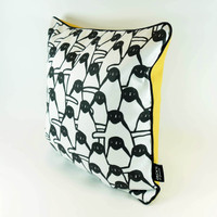 Quirky penguin cushion by Jacky Al-Samarraie