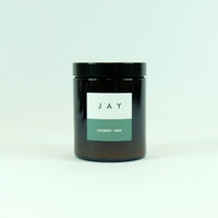 Pharmacy glass jar candle by Jacky Al-Samarraie - Cucumber & Musk fragrance