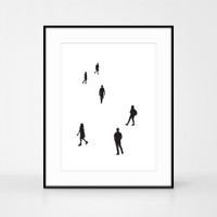 People screenprint No.1 by Jacky Al-Samarraie. Printed on cotton. Size A3
