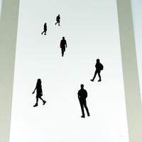 Cotton screen print by Jacky Al-Samarraie. People in silhouette.