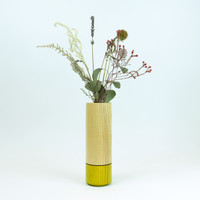Handmade green wood stem vase with glass tube by Jacky Al-Samarraie