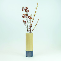 Blue handmade wood vase by Jacky Al-Samarraie
