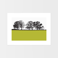Keswick, Cumbria Landscape print by designer Jacky Al-Samarraie. The print is unframed and print colour is shown as lime green but comes in many other colours.