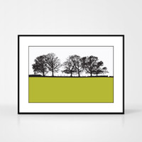 Landscape print of Keswick in Cumbria, England by designer Jacky Al-Samarraie.  The print colour is shown as lime green but comes in many other colours.  The print is shown in a frame for reference but comes unframed.