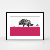 Landscape print of Cockermouth in Cumbria, England by designer Jacky Al-Samarraie.  The print colour is shown as pink but comes in many other colours.  The print is shown in a frame for reference but comes unframed.