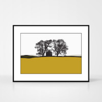 Landscape print of Conistone in the Yorkshire Dales, England by designer Jacky Al-Samarraie.  The print colour is mustard and dark green.  The print is shown in a frame for reference but comes unframed.