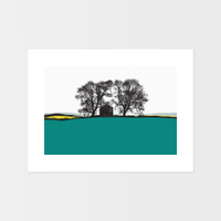 Landscape print from Conistone, Yorkshire Dales by Jacky Al-Samarraie. The print colour is turquoise and yellow.