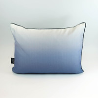 Blue landscape silhouette cushion with ombre back by designer Jacky Al-Samarraie