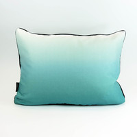 Teal landscape silhouette cushion with ombre back by designer Jacky Al-Samarraie