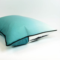 Teal English countryside landscape cushion with ombre back, by designer Jacky Al-Samarraie