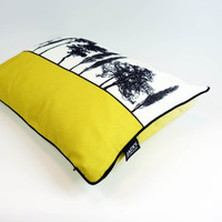 Side view of mustard English countryside cushion by designer Jacky Al-Samarraie