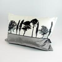 Grey Velvet Landscape cushion by Jacky Al-Samarraie