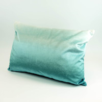 Teal velvet landscape silhouette cushion with ombre back by designer Jacky Al-Samarraie