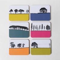 Set of 6 tree landscape drinks coasters by Jacky Al-Samarraie