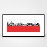 Landscape print of Liverpool city skyline from the River Mersey by designer Jacky Al-Samarraie.  Shown in frame for reference.