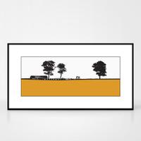 Landscape print of Elie in Fife, Scotland by designer Jacky Al-Samarraie.  Shown in frame for reference.