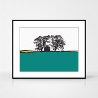 Landscape print of Conistone in the Lake District by designer Jacky Al-Samarraie, in Turquoise and Yellow.  Shown in frame for reference.