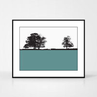 Landscape print of Windermere in the Lake District by designer Jacky Al-Samarraie, in Turquoise.  Shown in frame for reference.