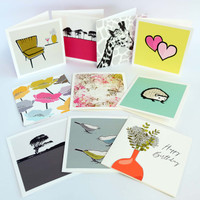 Contemporary greeting card mix by Jacky Al-Samarraie. Box set of 20 cards.