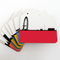 Jacky Al-Samarraie London coaster set of 8 colourful designs