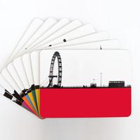 Jacky Al-Samarraie London Table Mat & Matching Coaster Set of 8 famous landmarks